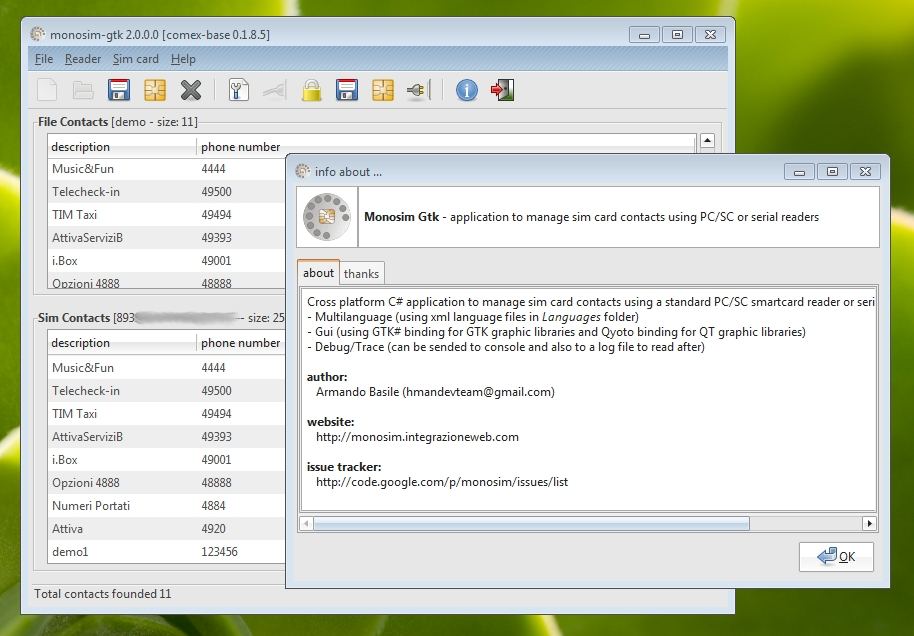monosim - manage your sim card contacts with standard pcsc